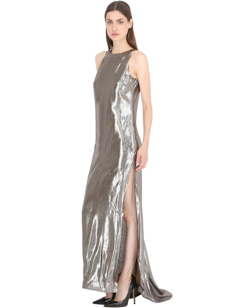 Siran Silk Lamé Dress
