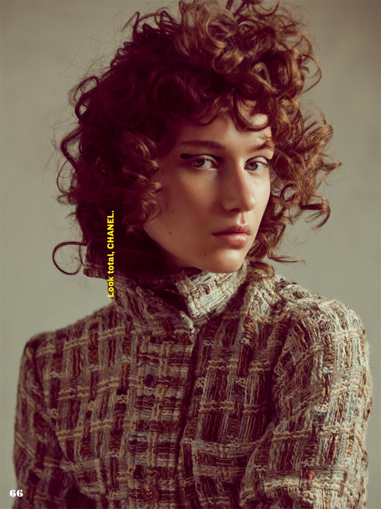 Sofia Tesmenitskaya gets her closeup with curly hairstyle and Chanel jacket