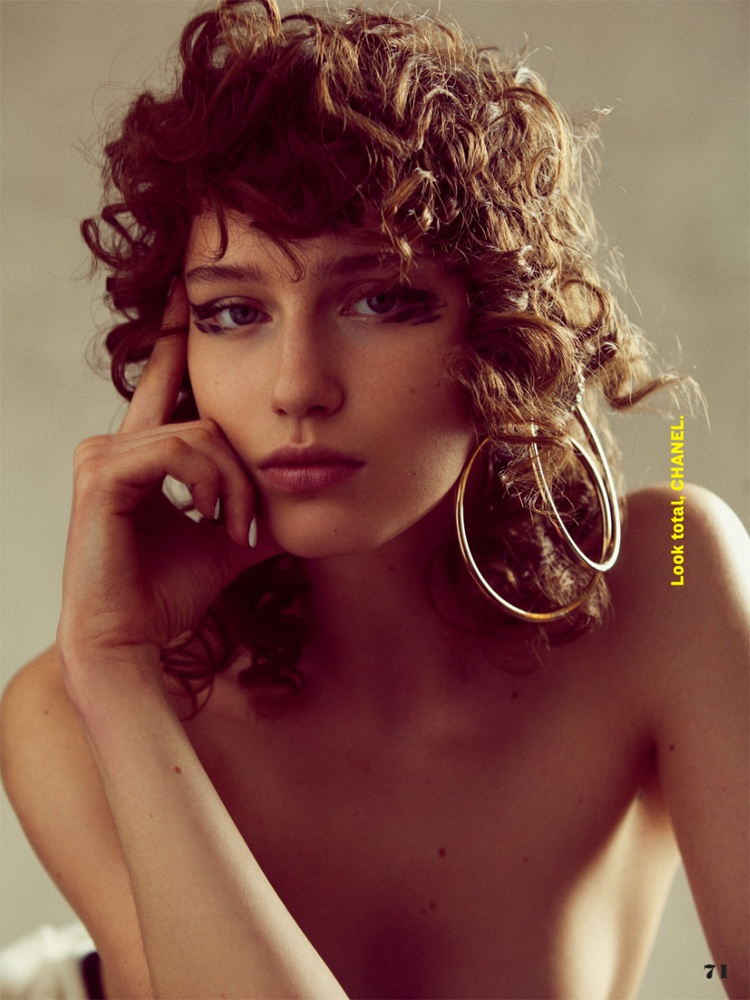 Sofia Tesmenitskaya models Chanel oversized hoop earrings