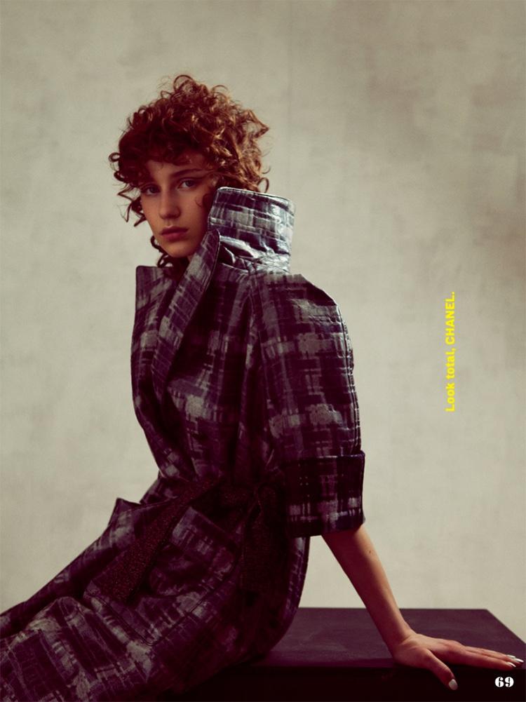Sofia Tesmenitskaya bundles up in Chanel plaid coat