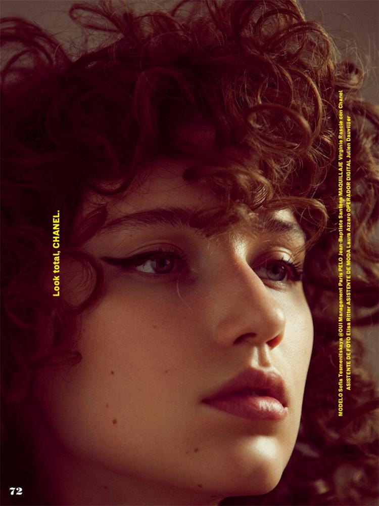 Sofia Tesmenitskaya wears curly hairstyle