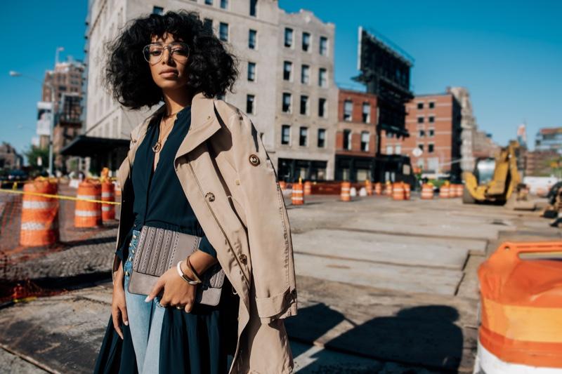 Solange Knowles poses in New York wearing Michael Kors Brooklyn Crossbody Bag
