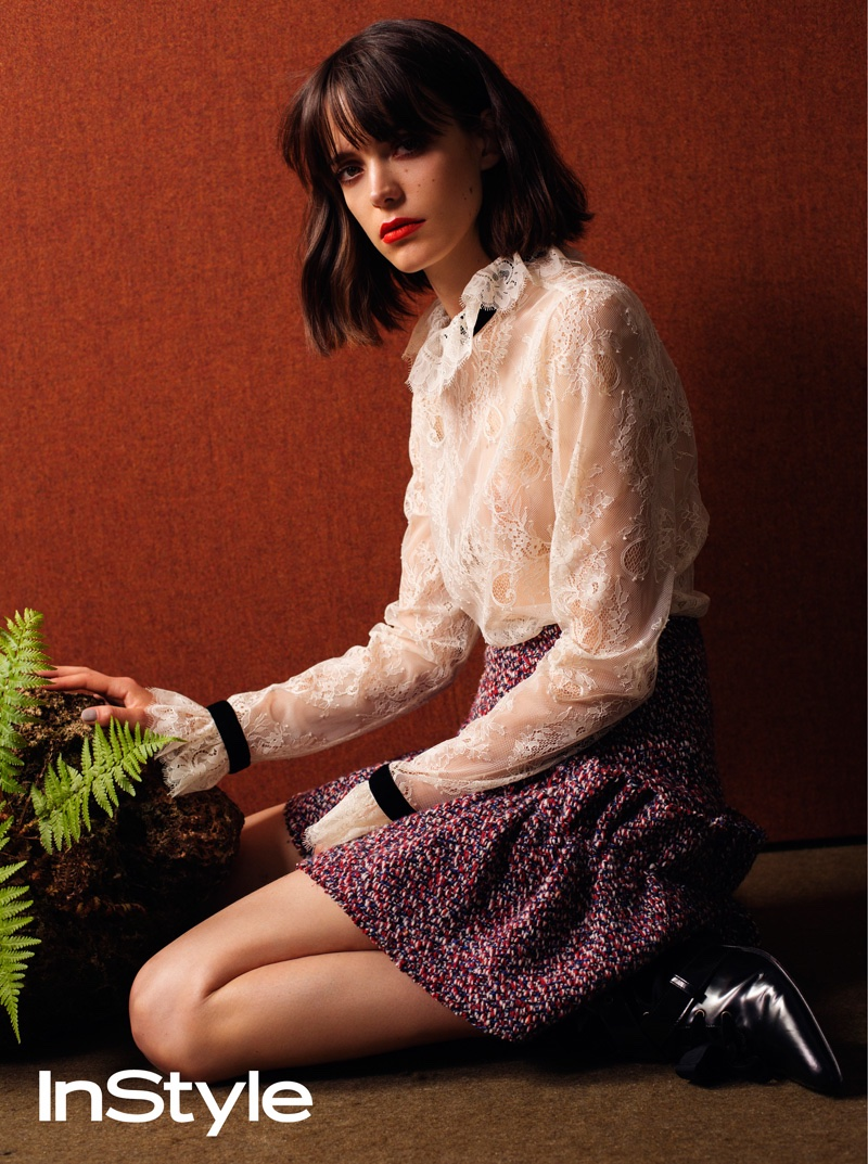 Stacy Martin poses in Victorian lace inspired top with printed miniskirt