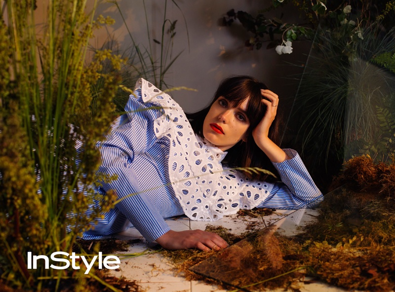 Stacy Martin wears striped shirt with lace embellishment