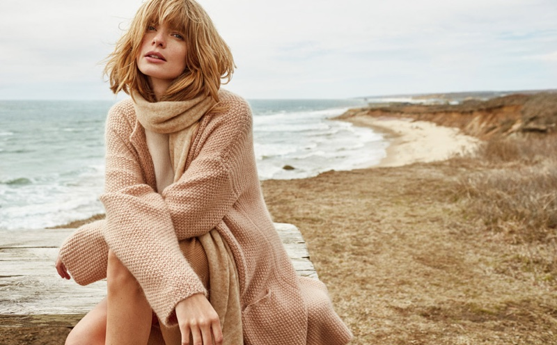 Julia Stegner wears cowl neck sweater from Stefanel's fall 2016 collection