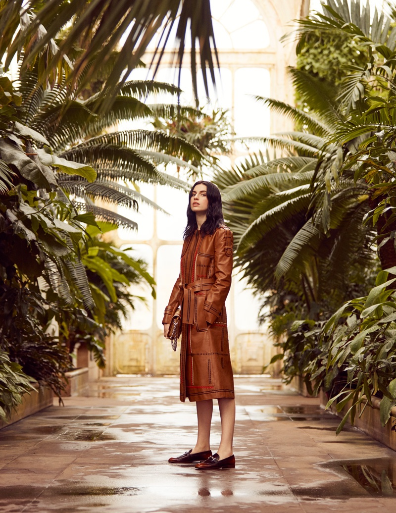 Tali Lennox wears leather coat from Tod's