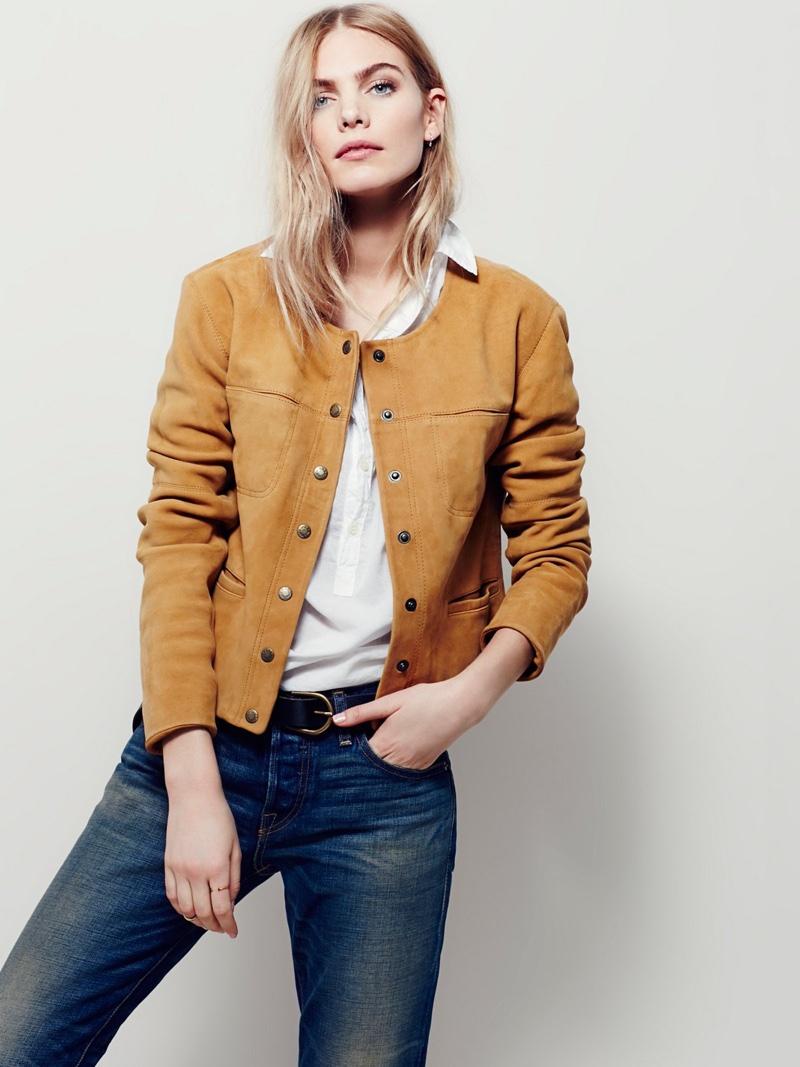 Free People Collarless Saddle Stitch Suede Jacket in Tan