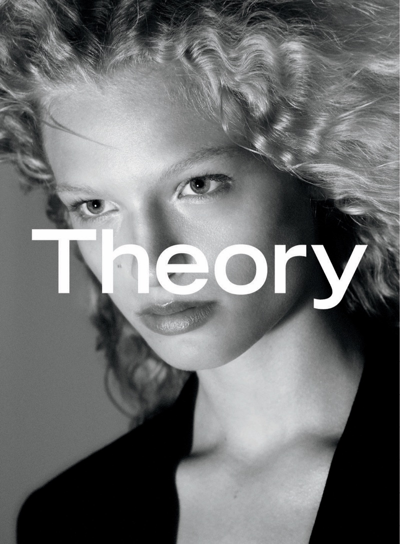 Frederikke Sofie's signature blonde waves are on display for Theory's fall advertisements