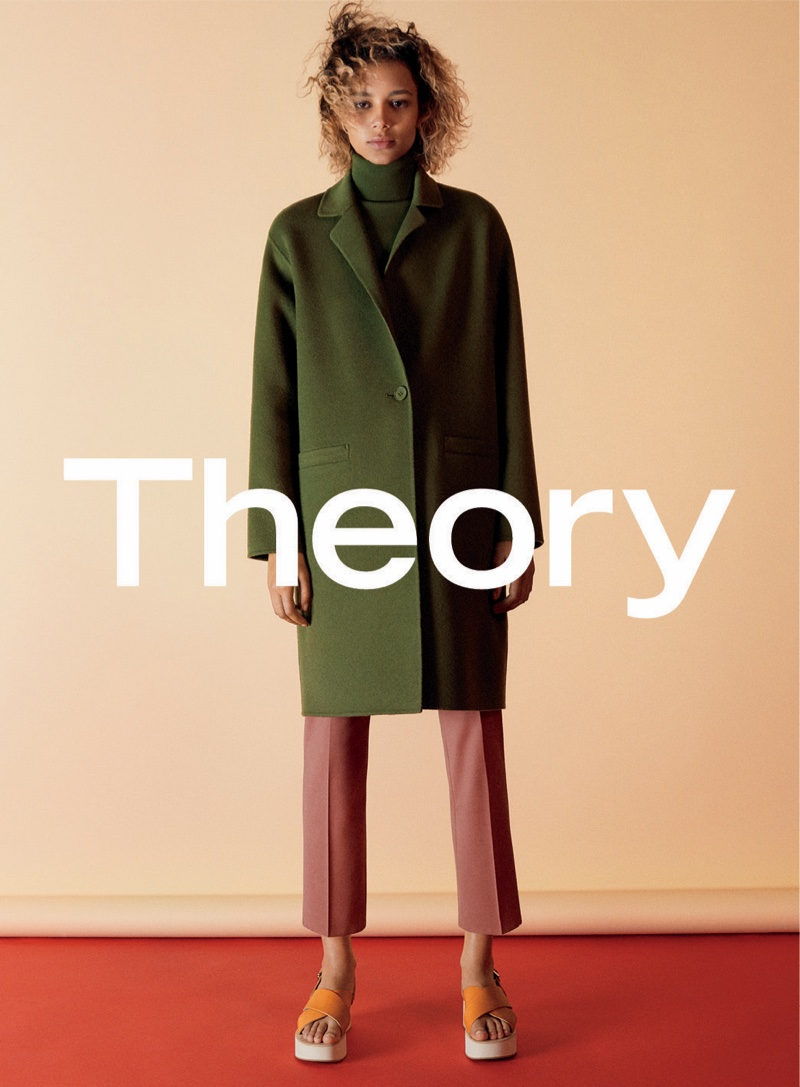 Binx Walton wears green jacket and cropped pants in Theory's fall 2016 campaign
