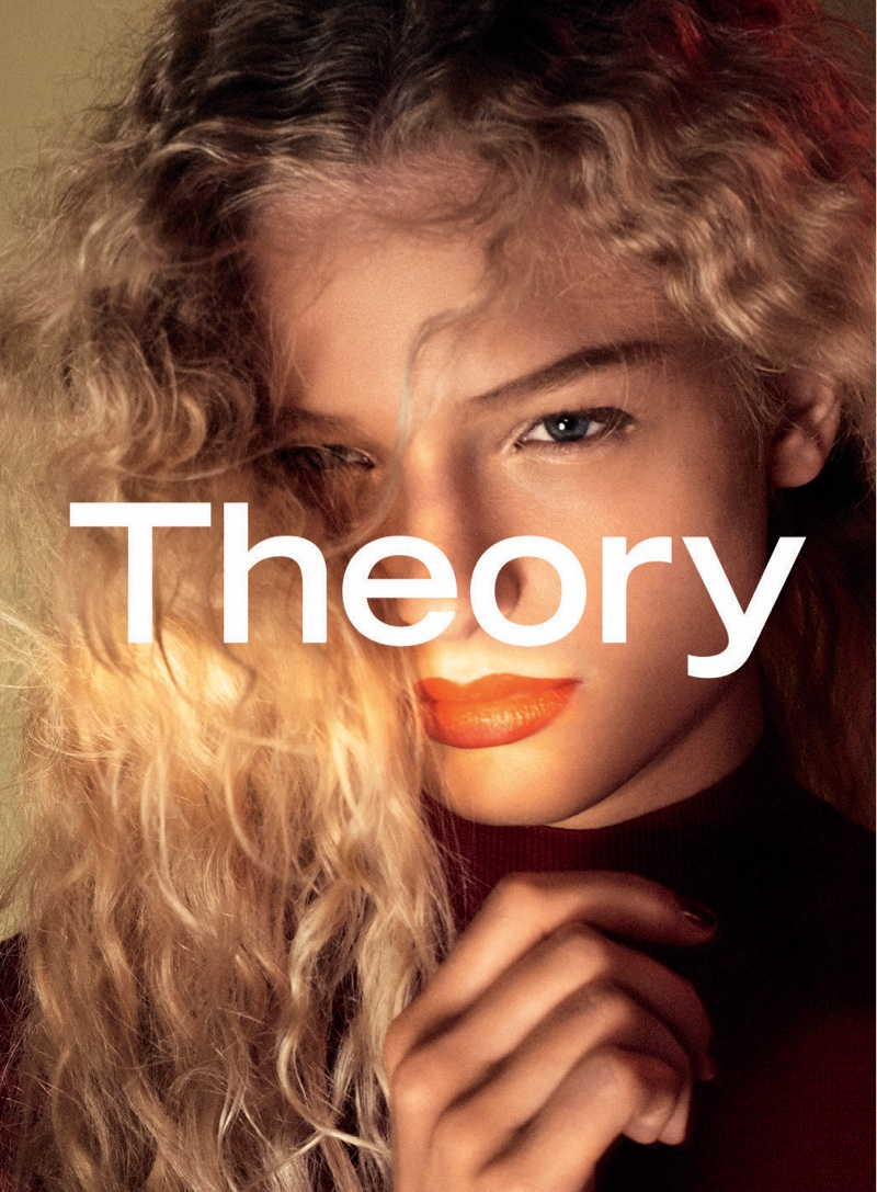 Model Frederikke Sofie gets her closeup for Theory's fall campaign