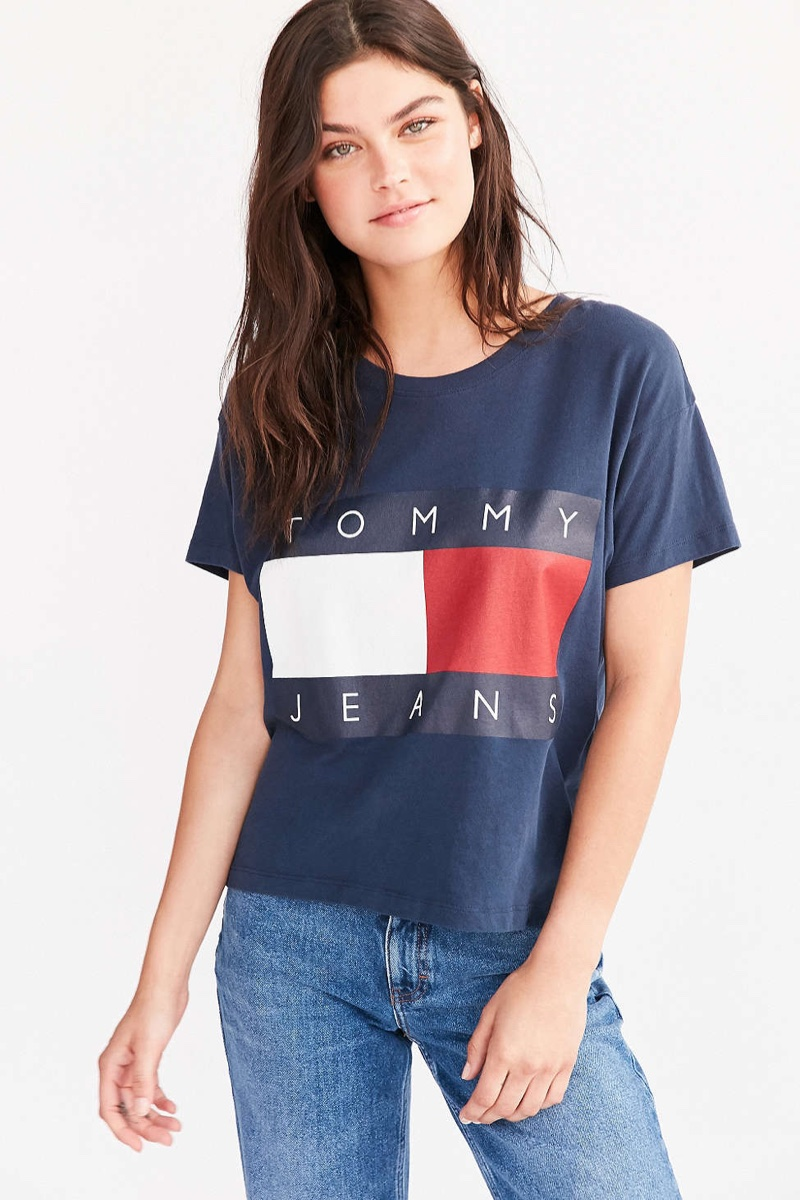 hilfiger denim t shirt damen hilfiger denim tommy jeans. Black Bedroom Furniture Sets. Home Design Ideas