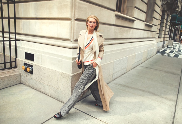 Toni Garrn poses in office ready fashions for the editorial