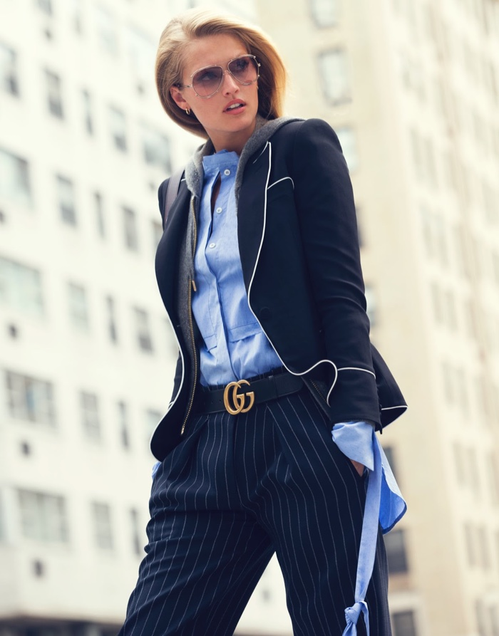 Toni Garrn looks sharp in Alexander McQueen blazer with Victoria, Victoria Beckham pants