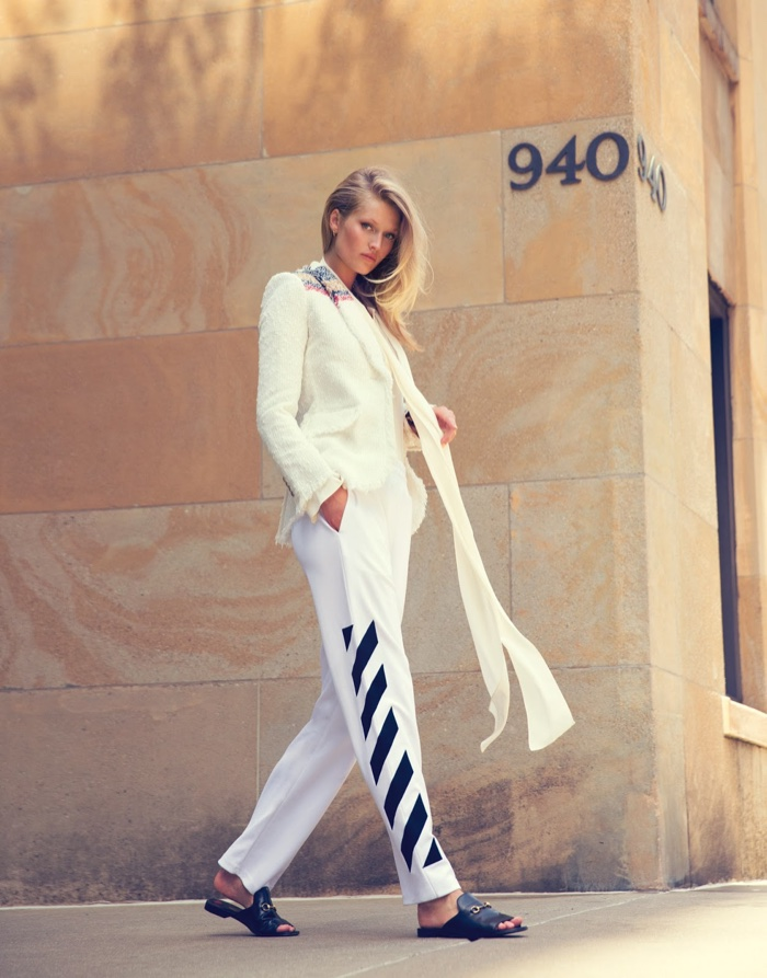 Toni Garrn tries on loose suiting in the feature