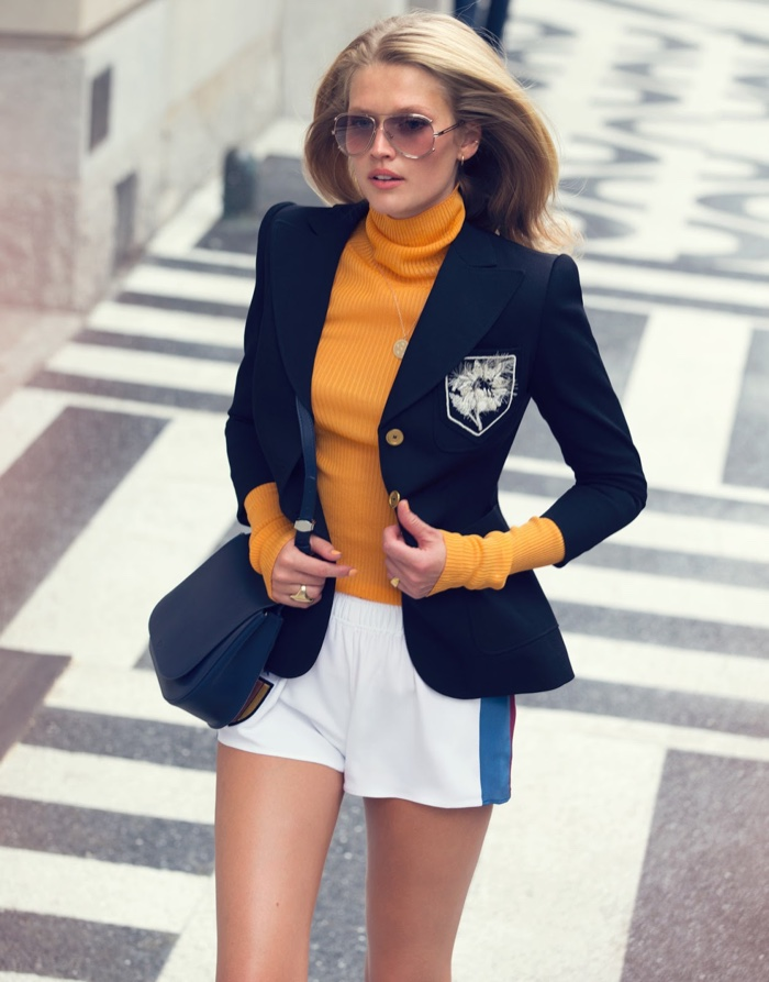 Toni Garrn Wears Fashion On the Go for The Edit