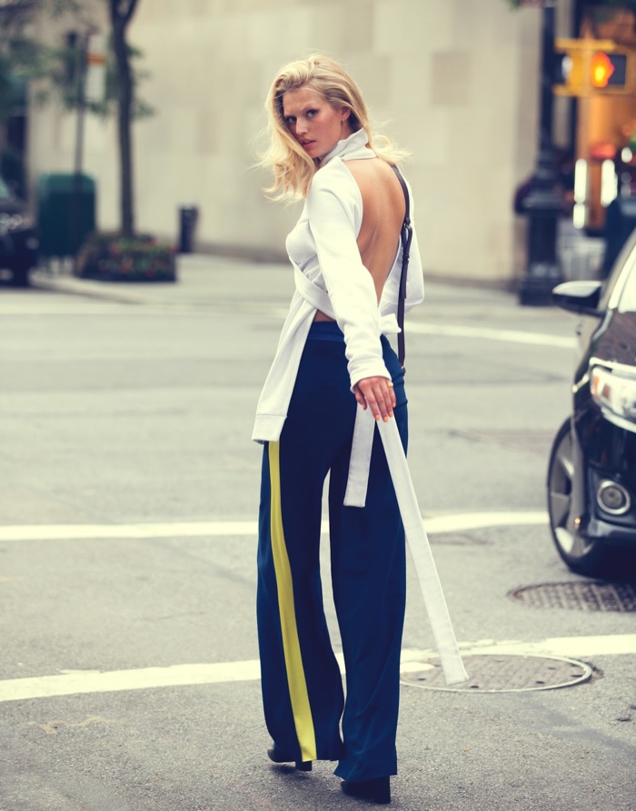 Toni Garrn models Off-White top and pants with Gucci shoes