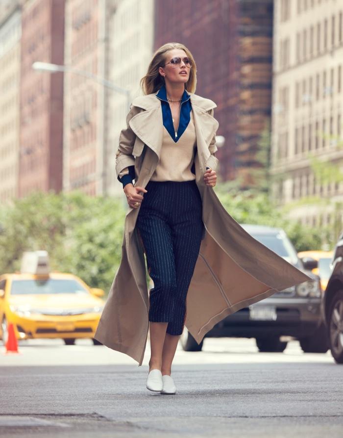 Toni Garrn hits the street in khaki See by Chloe coat over a sharp look