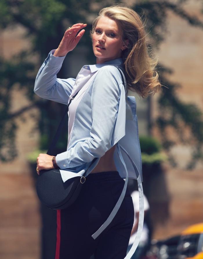 Toni Garrn models Tome shirt, Joseph pants and Victoria Beckham bag