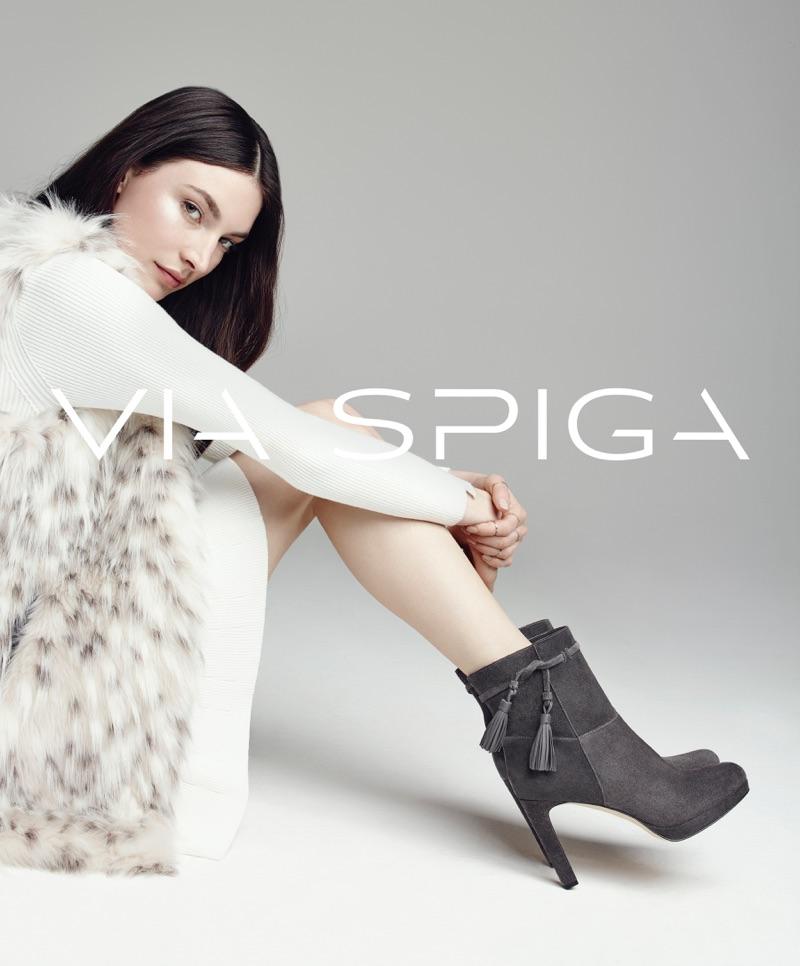 Jacquelyn Jablonski rocks Via Spiga's Bristol stiletto booties for the brand's fall-winter 2016 campaign.