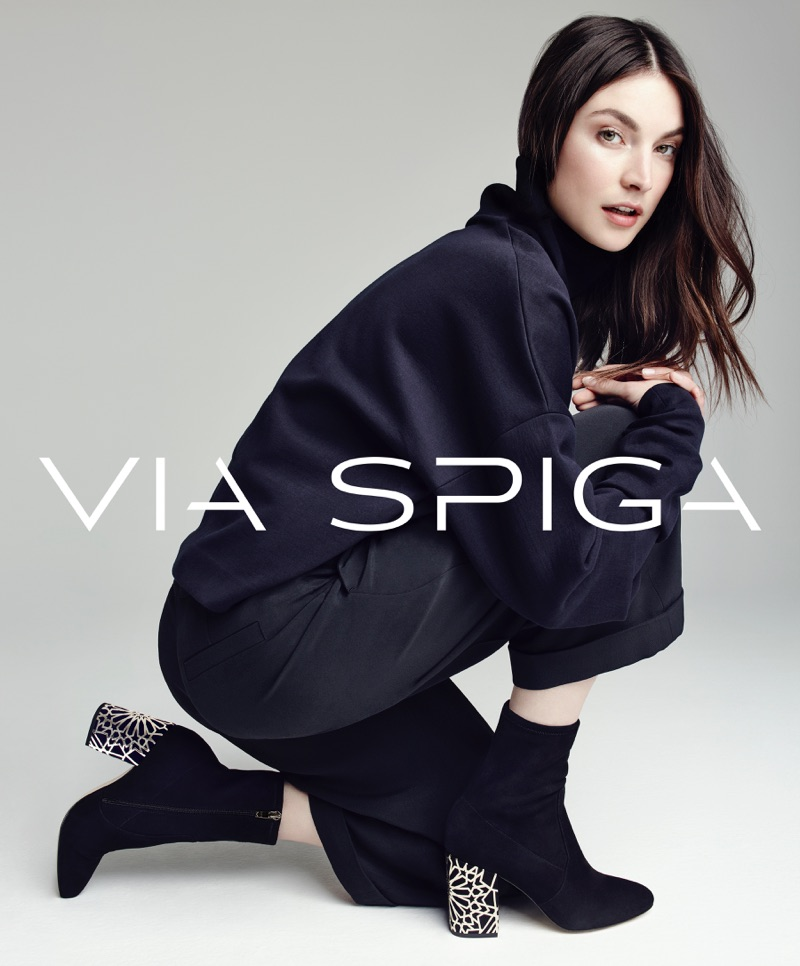 Jacquelyn Jablonski makes a statement in Via Spiga's Daisie booties for the label's fall-winter 2016 campaign.