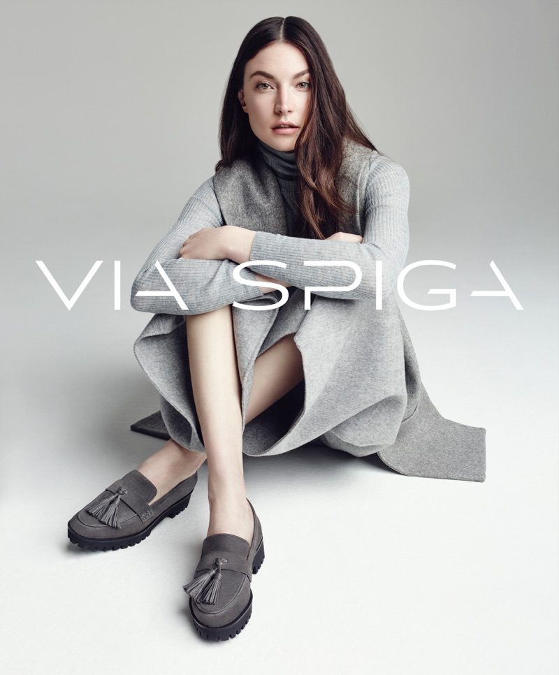 Jacquelyn Jablonski is front and center in Via Spiga's Giada suede loafers for the brand's fall-winter 2016 campaign.