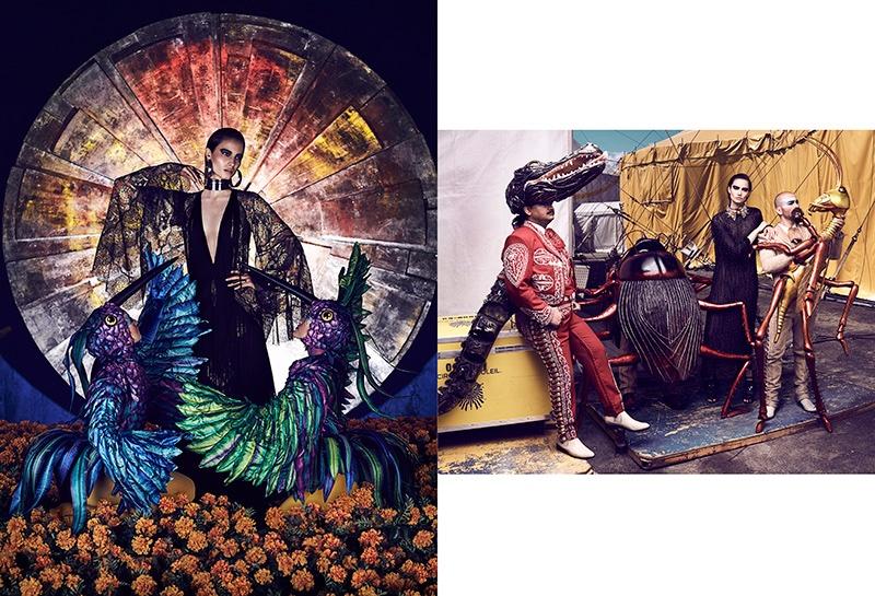 (Left) Mackenzie wears Roberto Cavalli dress (Right) The model poses in Blumarine fringe embellished dress
