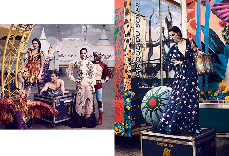 (Left) The model wears Gucci embroidered gown (Right) Mackenzie poses in Just Cavalli star print dress