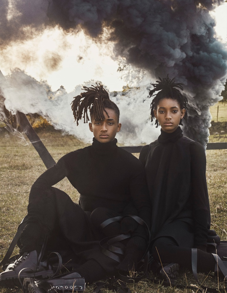 Siblings Willow and Jaden Smith pose in Rick Owens tops and shorts