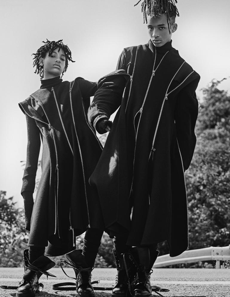 Willow and Jaden Smith both wear Salvatore Ferragamo dress and coat