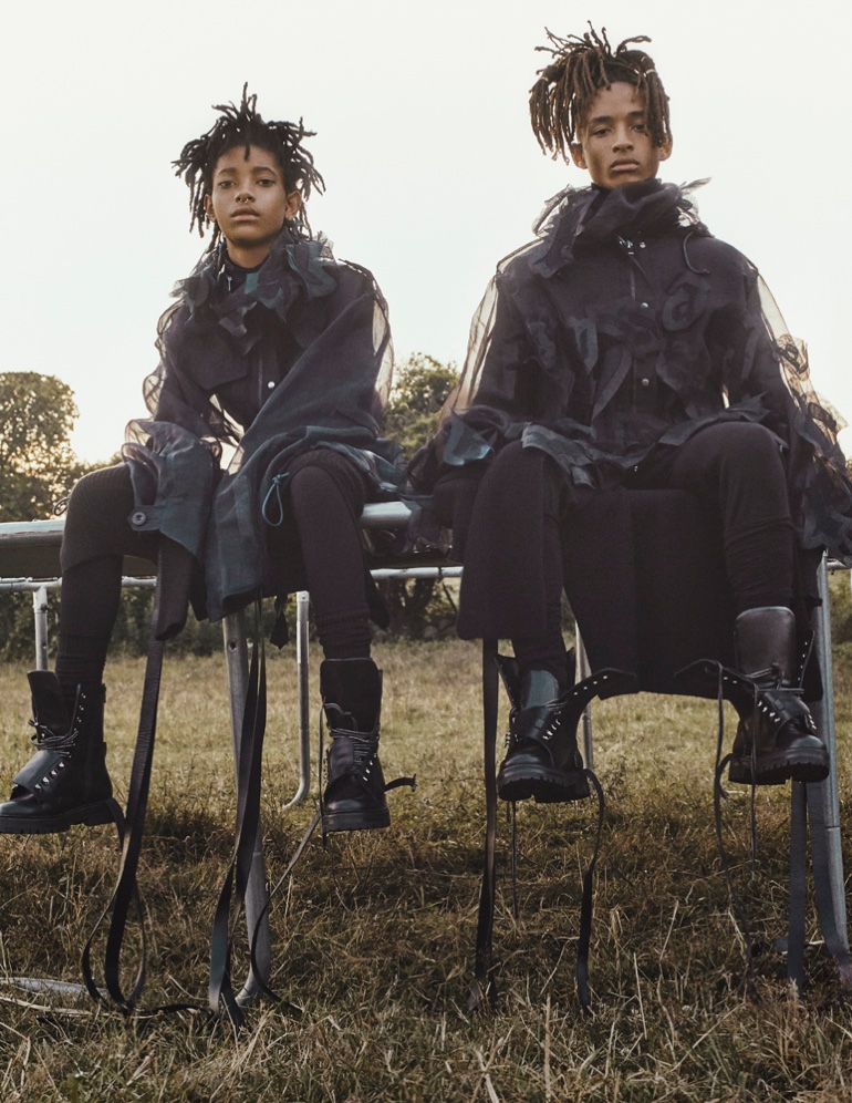 Willow and Jaden Smith serve post-apocalyptic fashion in Sacai jacket and collar