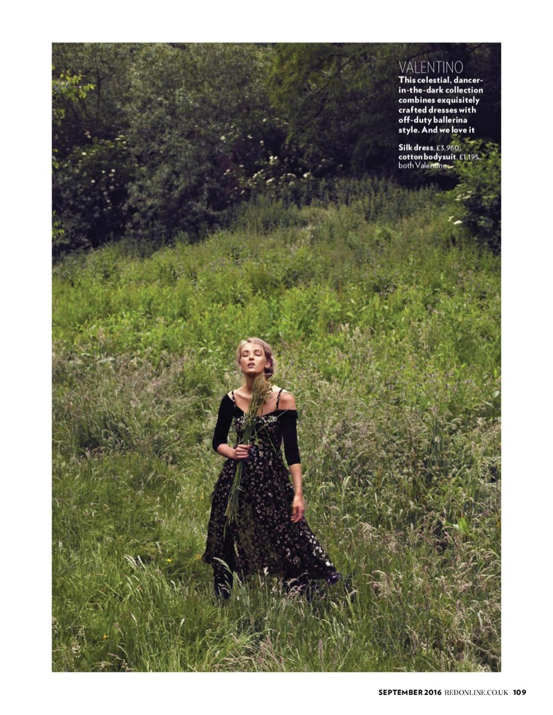 Embracing nature, the model wears silk dress and cotton bodysuit from Valentino