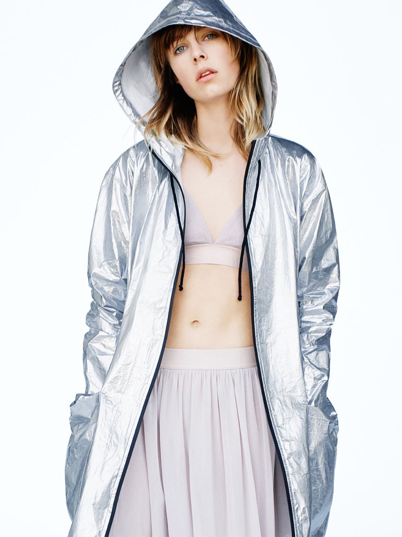 Zara Sport Fall 2016: Metallic jacket, tulle bra and skirt