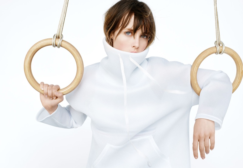 Edie Campbell takes a hold of the rings for Zara's fall 2016 Sport collection