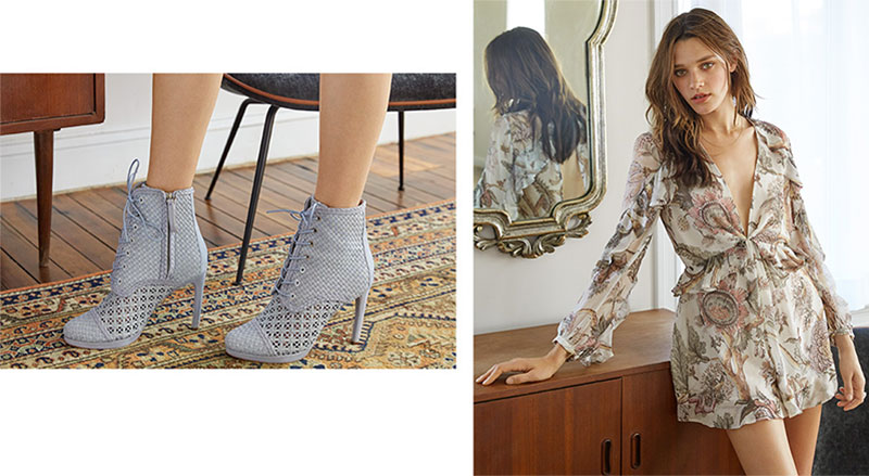 (Left) Zimmermann Weave Ankle Booties (Right) Zimmermann Karmic Flounce Playsuit and Zimmermann Weave Platform Oxford Shoes