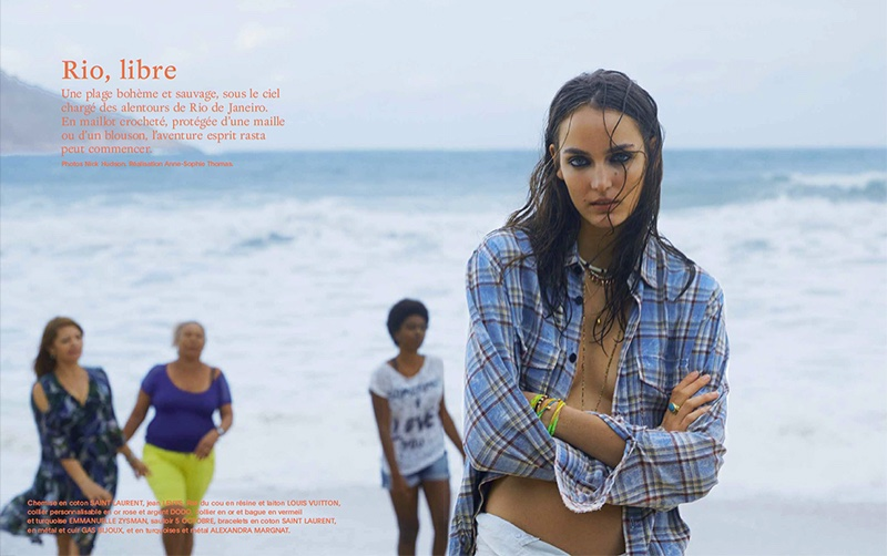 Zuzanna Bijoch poses on the beaches of Rio de Janiero for the fashion editorial