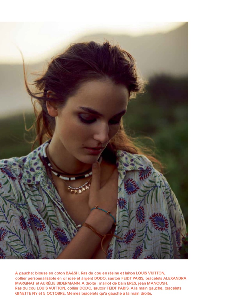 Zuzanna Bijoch poses in BA&SH cotton blouse with layered necklaces