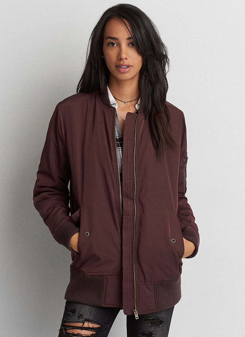 AEO Long Bomber Jacket in Deep Plum