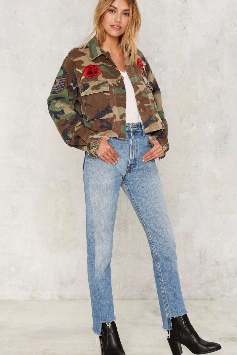 After Party by Nasty Gal Back to Buds Embellished Camo Jacket
