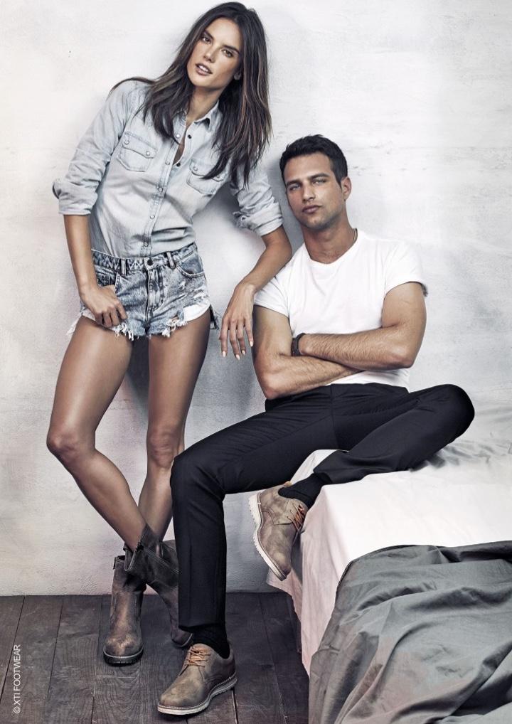 Alessandra Ambrosio and Jesús Castro front XTI Shoes' fall-winter 2016 campaign