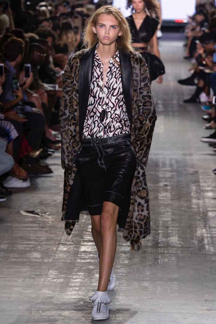 Alexander Wang Spring 2017: Molly Blair walks runway in leopard print coat, printed shirt and leather Bermuda shorts