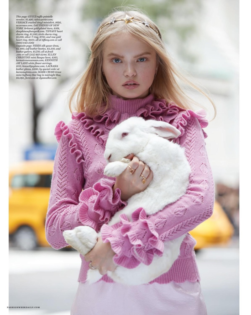 The model channels Alice in Wonderland style for the fashion editorial