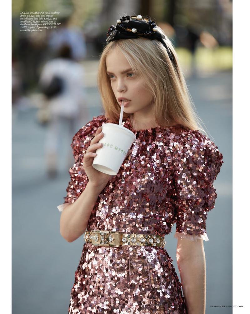 Natsya looks pretty in pink wearing Dolce & Gabbana paillette dress