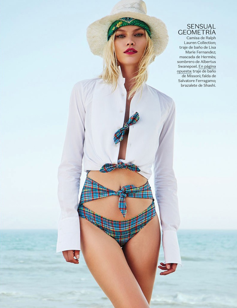Aline Weber poses in swimsuit styles for the fashion editorial