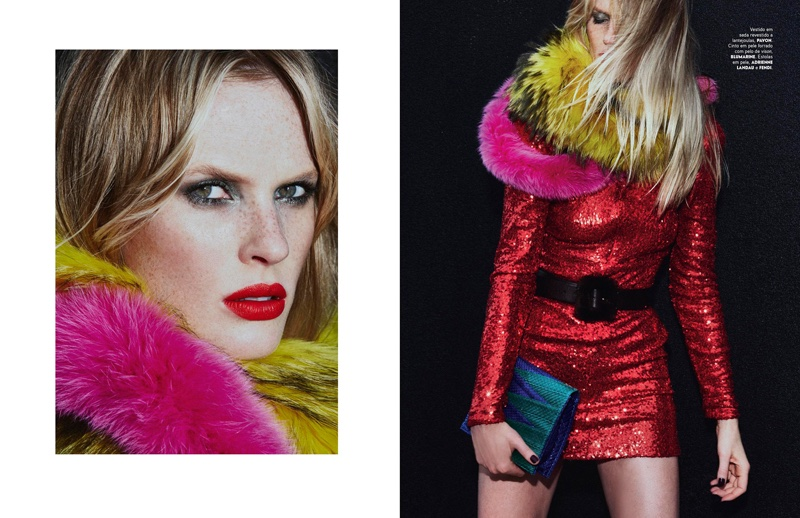 Photographed by An Le, Anne Vyalitsyna wears red fashions in the editorial