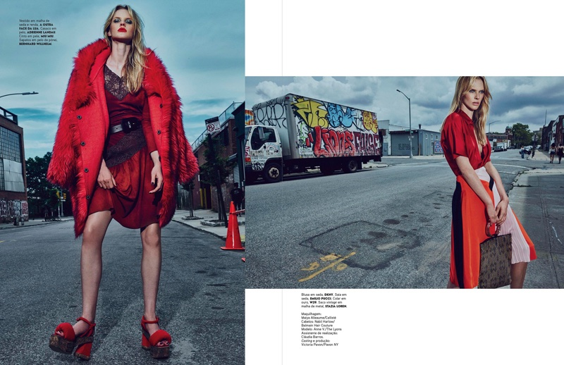 Anne Vyalitsyna poses in the streets with all red ensembles