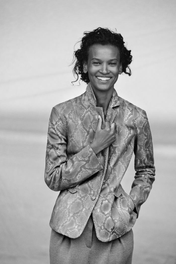 Liya Kebede is all smiles in a suit jacket and trousers from Giorgio Armani