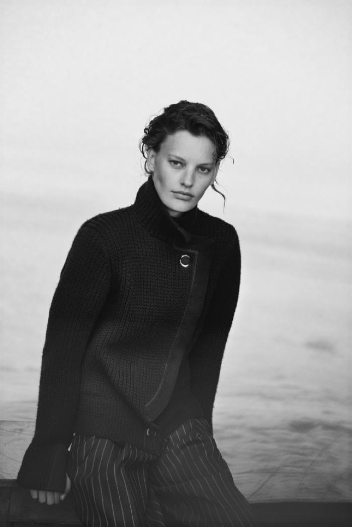 Amanda Murphy wears a long coat in Giorgio Armani's New Normal campaign