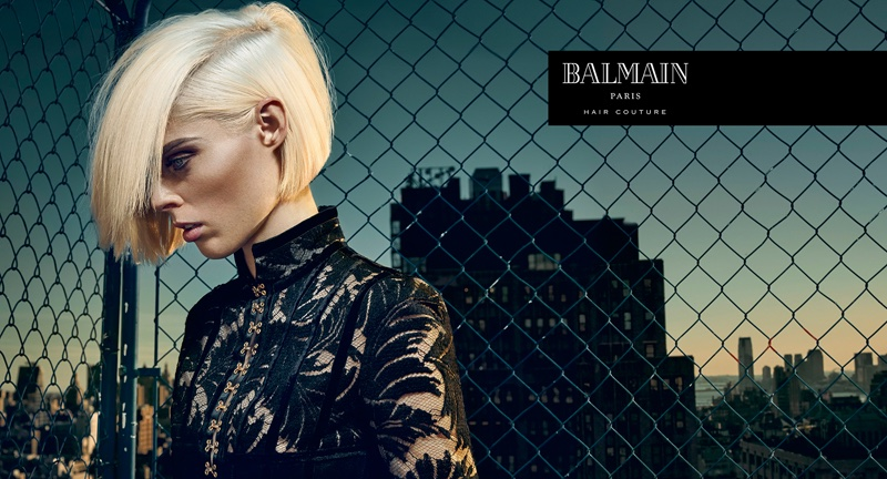 Coco Rocha goes platinum blonde in Balmain Hair Couture advertising campaign