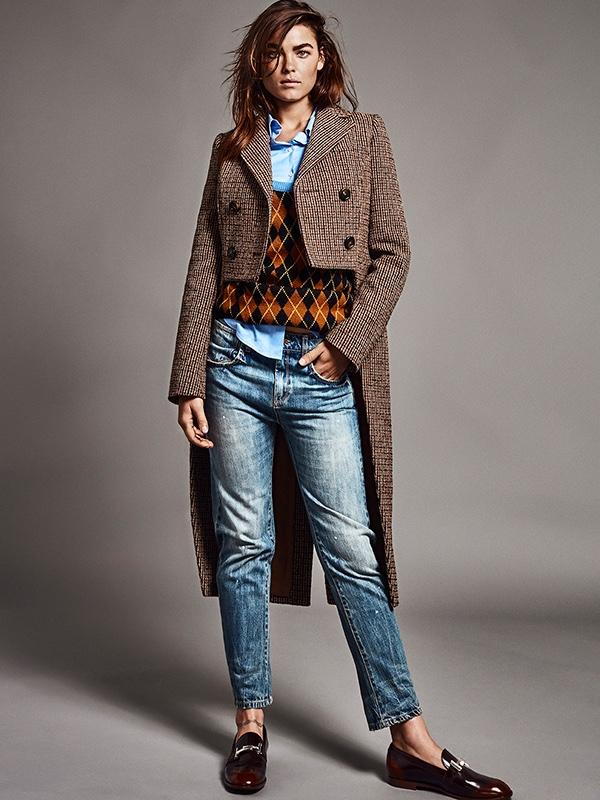 Bambi Northwood-Blyth wears Miu Miu sweater and coat over light wash denim