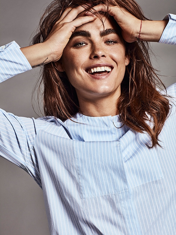 Bambi Northwood-Blyth is all smiles in pajama style shirt